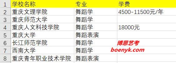 重庆市开设舞蹈专业院校大全