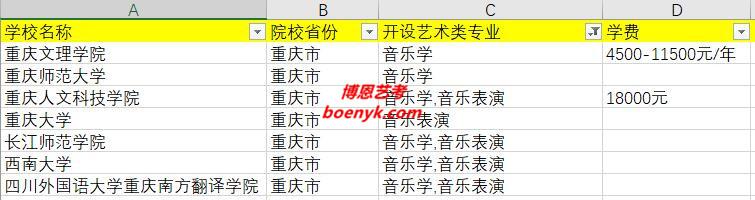 重庆市开设音乐类专业院校大全